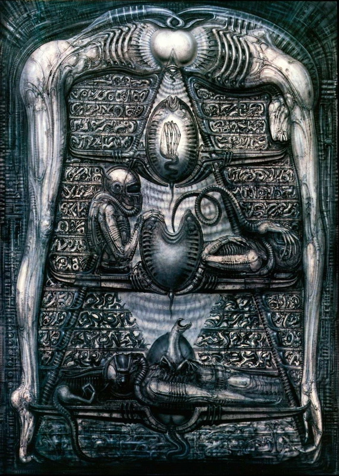 'The first version of Giger's mural featured space explorer victims, with  oxygen helmets…'